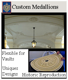 Flexible medallions for vaults and curved ceilings