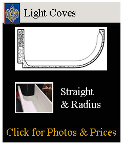 large variety of light coves, straight, curved and arched