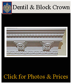 Dentil Block crown moulding available straight and curved